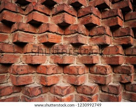 Red old bricks wall  #1230992749
