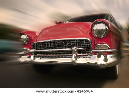 Red old chevy car