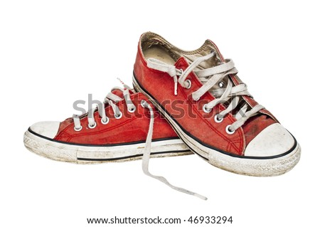 Red old retro sneakers