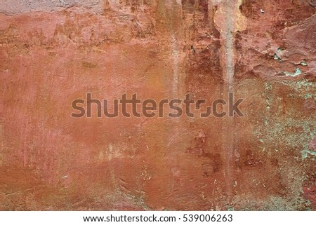 Red Old Rusty Plaster Wall With Worn Surface. Horizontal Empty Grunge Brickwork Background. Brown Brickwall With Shabby Stucco Isolated Texture. Empty Painted Vintage Grunge Stonework.