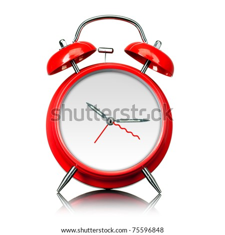 red old style alarm clock ready for setting time isolated on white