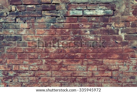 Red old worn brick wall texture background. Vintage effect.  #335945972