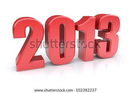 Red 2013 on a white background. 3d rendered image
