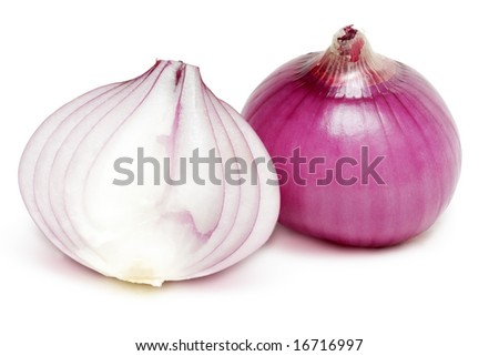 Red onion and a half isolated over white with a slight shadow