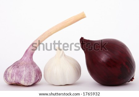 Red onion and garlic isolated on white,