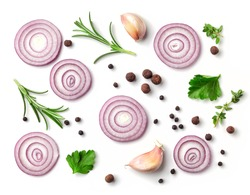 red onion and spices isolated on white background, top view