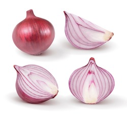 Red onion isolated on white background. Collection.