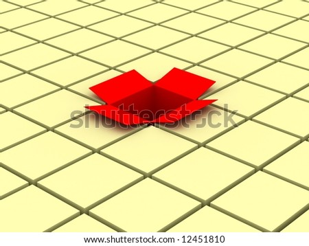 Red open box. 3D image