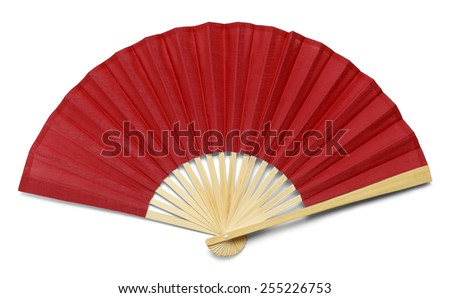 Red Open Hand Fan Isolated on a White Background. #255226753