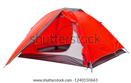 Red open tourist tent isolated on white background #1240150663