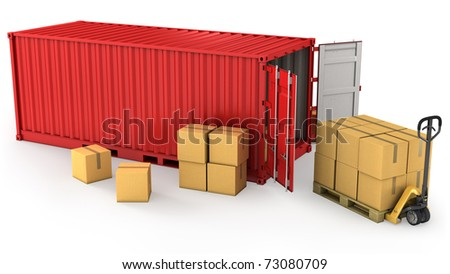 Red opened container and many of carton boxes on a pallet, isolated on white background