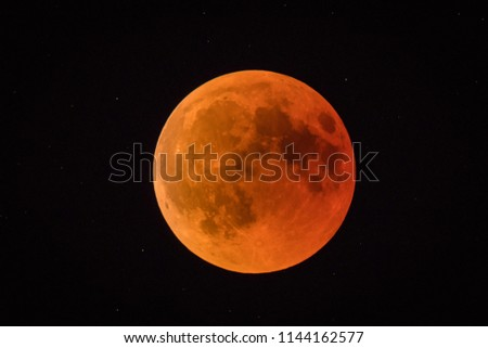 Red or blood moon, full moon eclipse in 2018. Astronomical picture of red moon in a full eclipse phase.