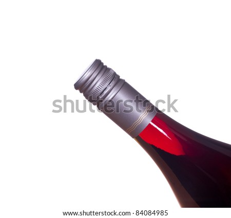 Red or rose wine in screw top wine bottle  isolated against white