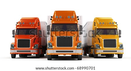Red, orange and yellow trucks isolated on white background