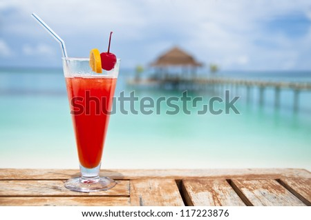 Red - orange drink at a luxury holiday resort
