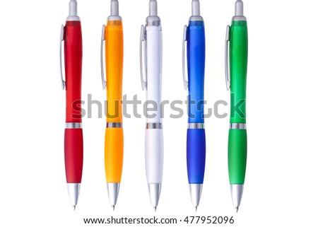 red, orange, green, white, blue plastic pen with metallic detail