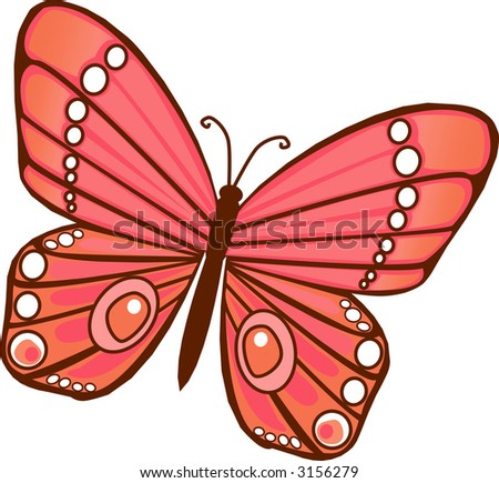 Red Orange Illustrated Butterfly