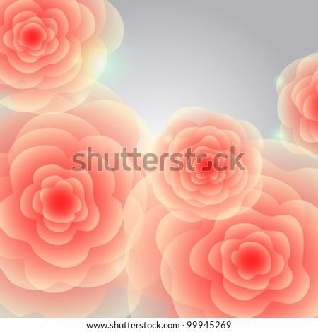 Red-orange roses on grey square background. Raster.