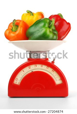 red, orange, yellow, green bell peppers on a vintage kitchen scale
