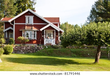 Red ordinary house in Sweden.