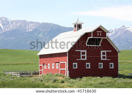 Red Oregon barn - stock photo