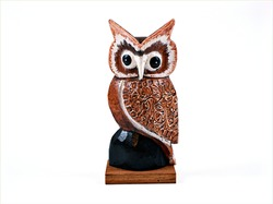 Red Owl Tyto soumagnei wooden handmade souvenir isolated on white background