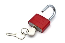 Red padlock and key closeup on white background
