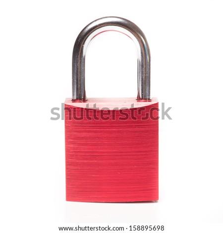 Red padlock closeup on white background