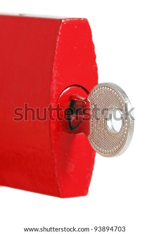 Red padlock on white background