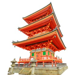red Pagoda of Kiyomizu Temple isolated on white background and copy space. Kiyomizudera is Unesco Heritage and popular landmark in Kyoto Japan. Spring season. Vertical shot.