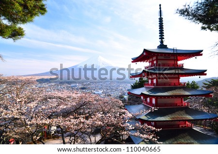 Red pagoda with Mt Fuji as the background
