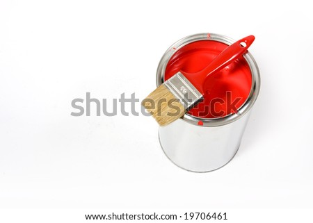 Red paint can with brush isolated on a white background - with clipping path