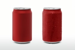Red paint cans and drop water isolated white background