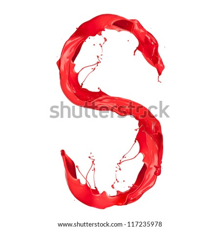 "Red paint splash letter ""S"" isolated on white background"