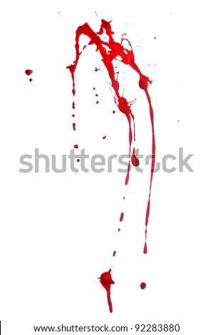 Red Paint Splashes on White Background