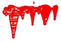 Red paint stains, color spillage drops isolated on white background, top view
