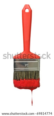 Red Paintbrush isolated on a white background - stock photo
