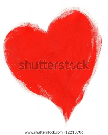 Red painted Valentine Heart on white background