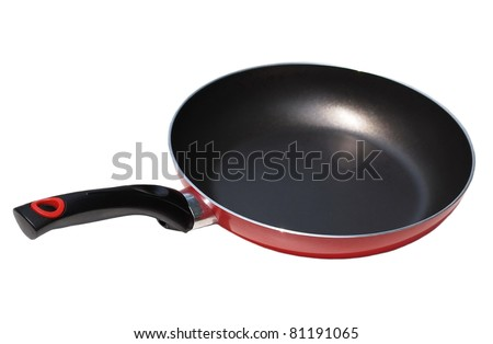 Red pan with handle on white background - stock photo