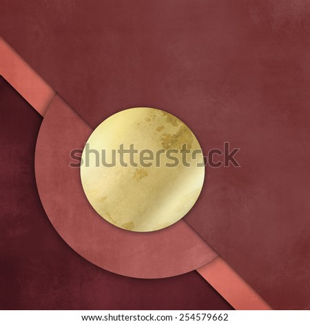 Red paper background with gold circle button