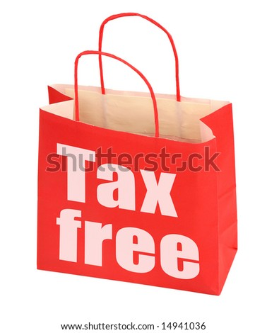 red paper bag with tax free sign on white background, photo does not infringe any copyright