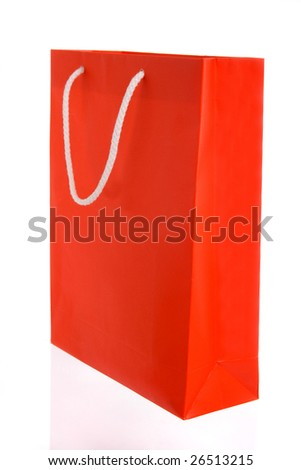 Red paper bag with white handles isolated on white