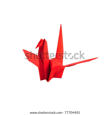 Red paper bird isolated on white background