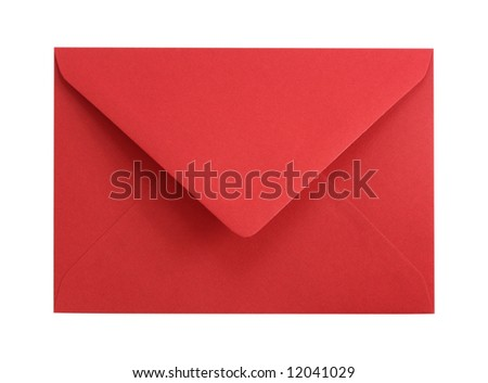 Red paper envelope isolated on white background