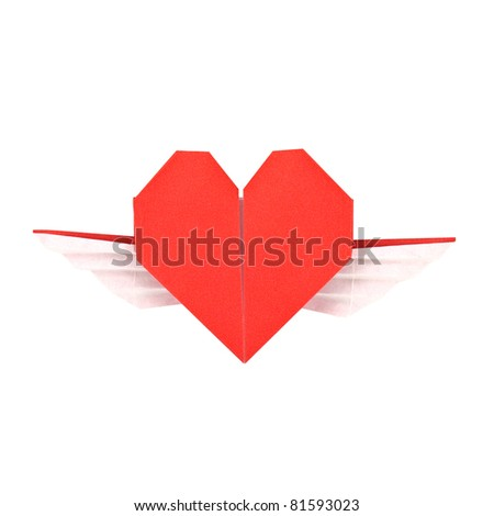 Red paper heart with wings origami, isolated on white
