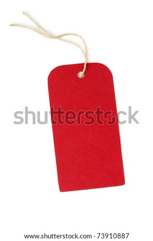 red paper label isolated on white