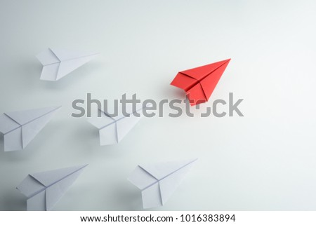 Red paper plane leader concept Stock photo ©
