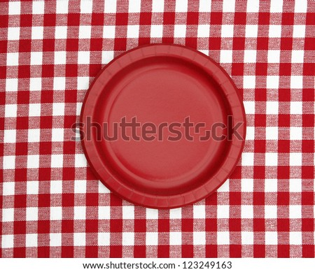 Checker Plate Paper Red Paper Plate Isolated on