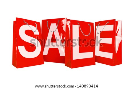Red paper shopping bags isolated on white