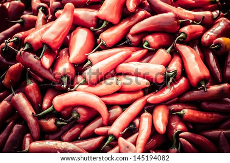 Red paprica in traditional vegetable market in India.